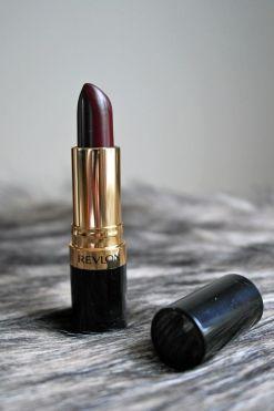 Revlon lipstick in Black Cherry shade.