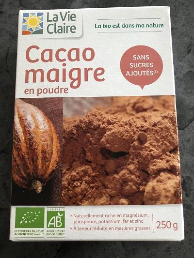 Cacao maigre sans sucre ajoute