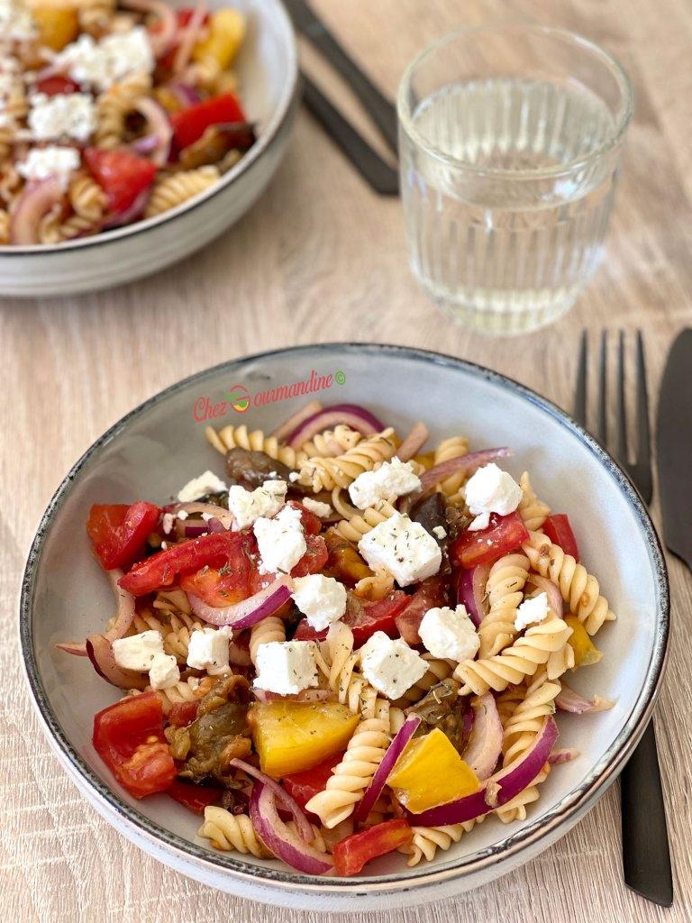 Salade fusillis légumes grillés