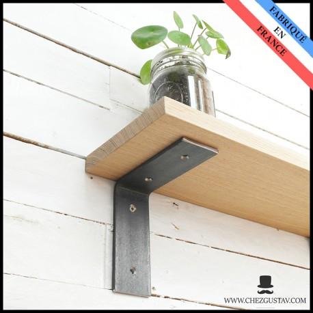 equerre en metal pour etagere murale sans bord bois industriel acier