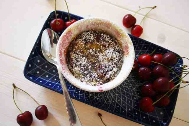 Cherry Clafoutis. A classic French dessert of fresh cherries baked in a buttery batter and best served warm.