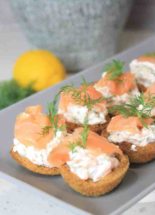 close up of smoked salmon canapes