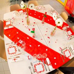 mariage lego table rouge