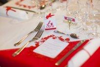 mariage lego menu en dentelle rouge