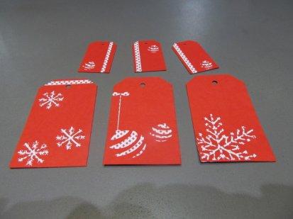 étiquettes cadeaux Noel rouges