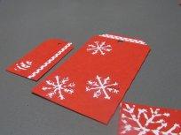 étiquettes cadeaux rouges noël flocon