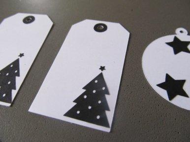cadeau de noel, étiquette blanche et noire (3)