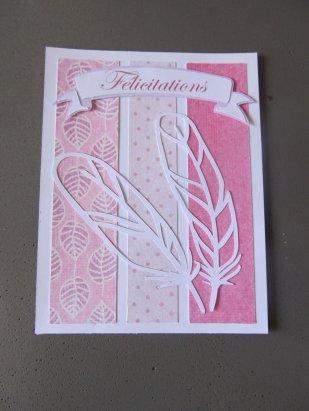 carte à plume félicitations naissance