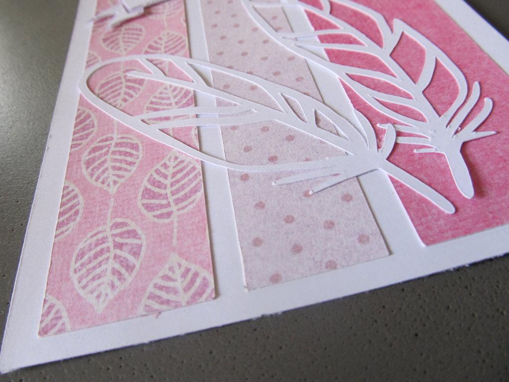 carte à plume félicitations rose