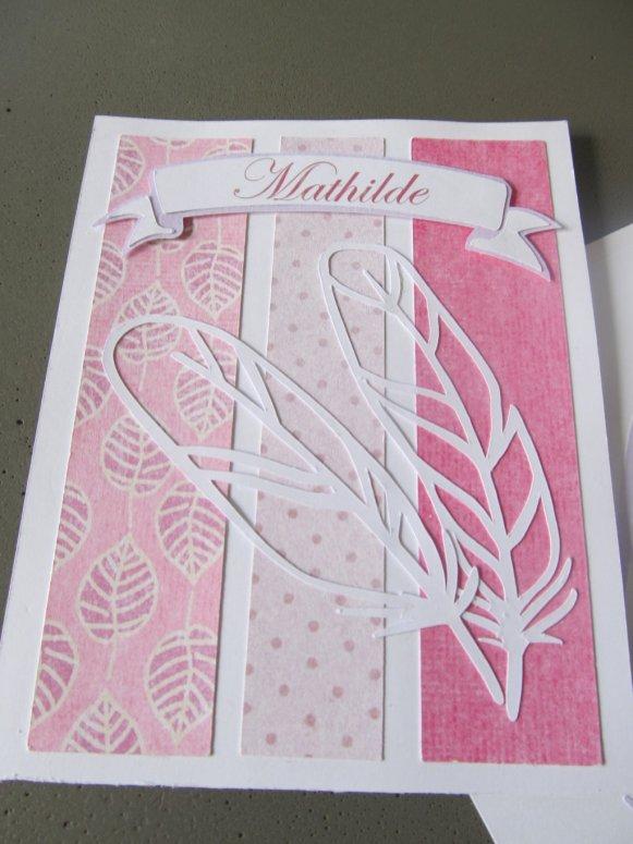 carte à plume bébé fille avec prénom