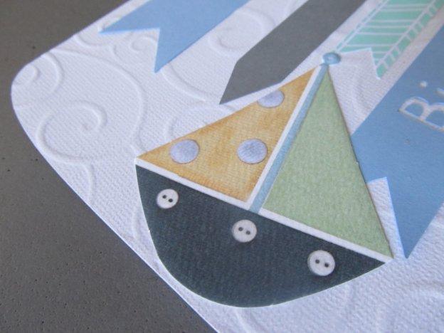 carte de naissance bateau et rubans