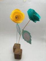 rose en papier cube en bois