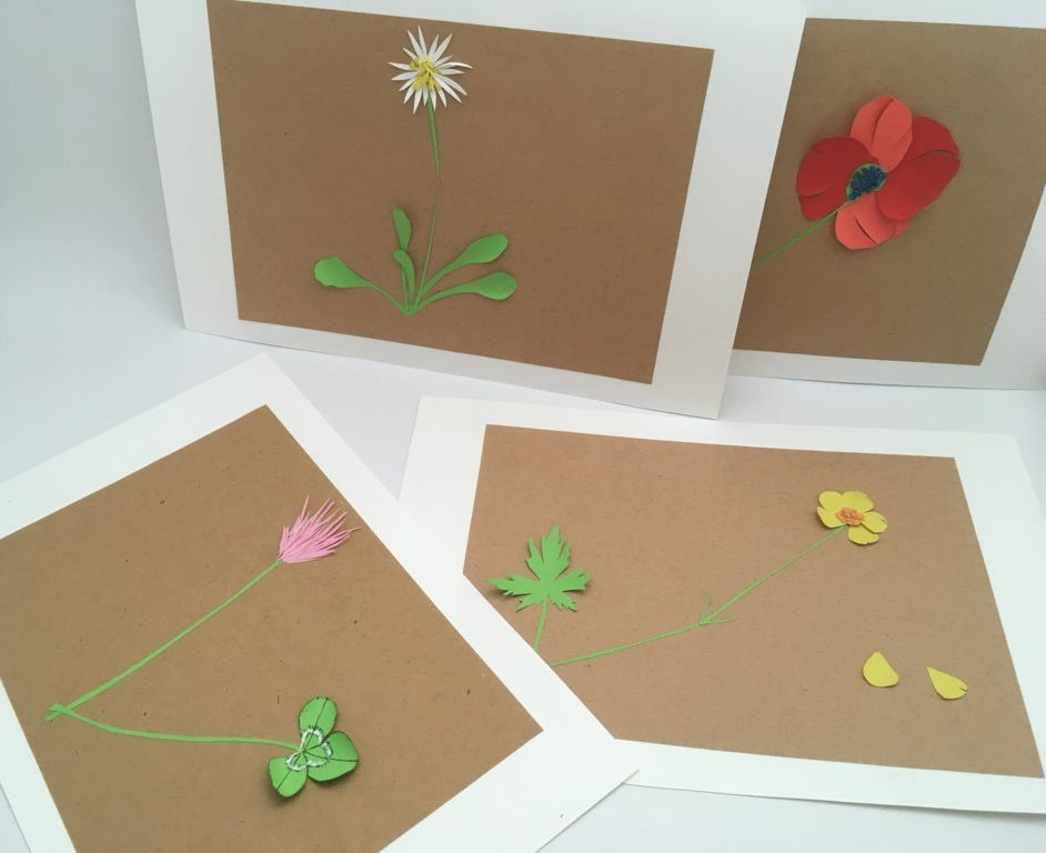 herbier en papier petites fleurs