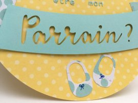 carte de demande de parrain chaussons bébé