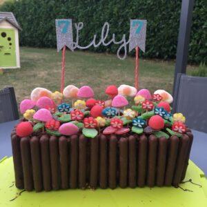 gâteau jardinière paillette