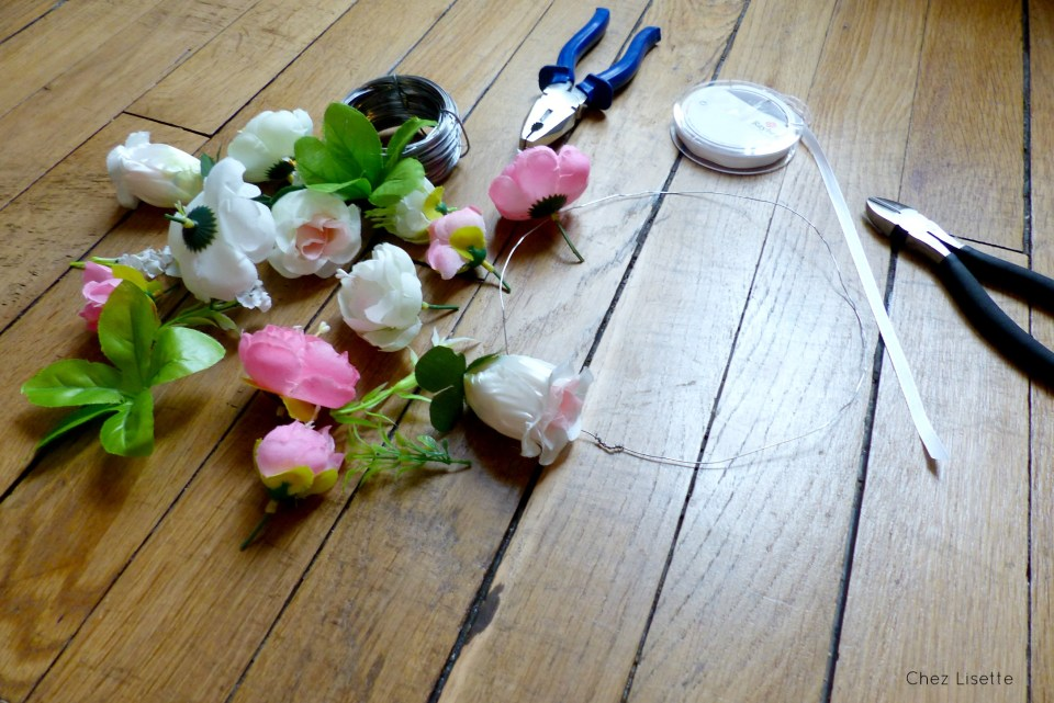 Chez Lisette DIY couronne de fleurs