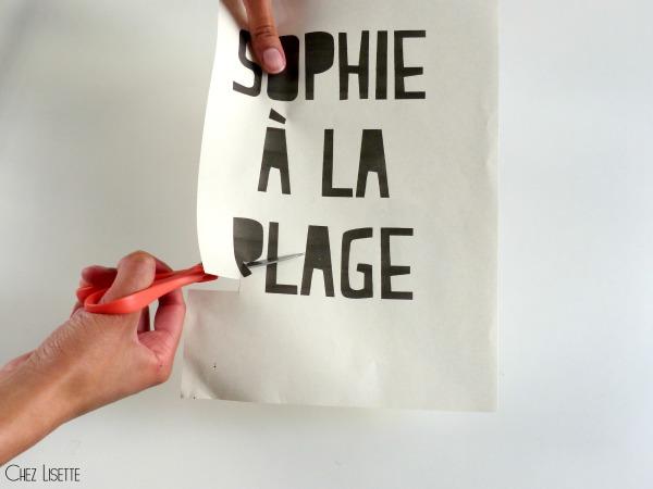 Chez Lisette DIY sac en tissu de plage découper