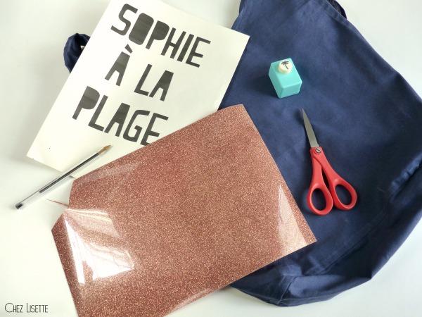 Chez Lisette DIY sac en tissu de plage matériel