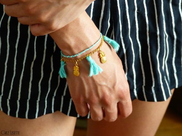 chez lisette diy bracelet ananas porté