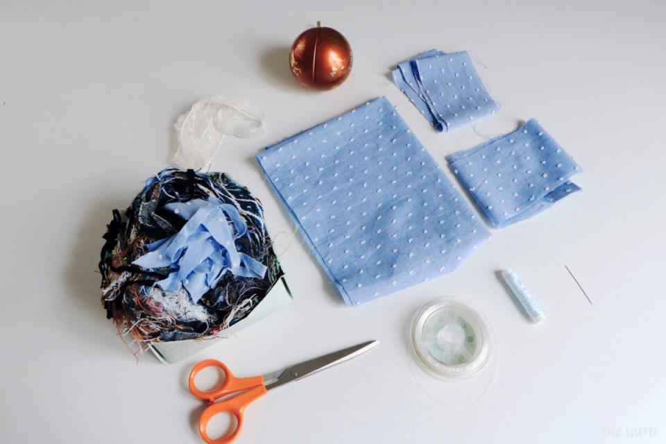 Chez Lisette DIY boules de Noël en tissu 1