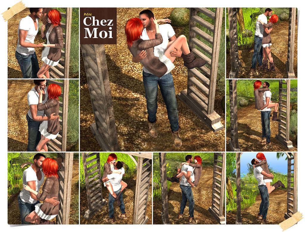 Pergola BirdHouses Wooden Couple Poses CHEZ MOI