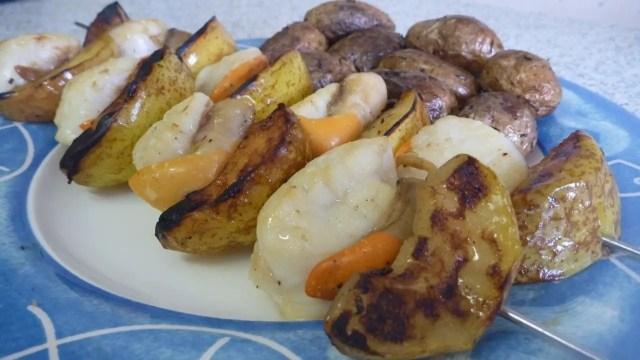Brochette de Saint-Jacques aux pommes