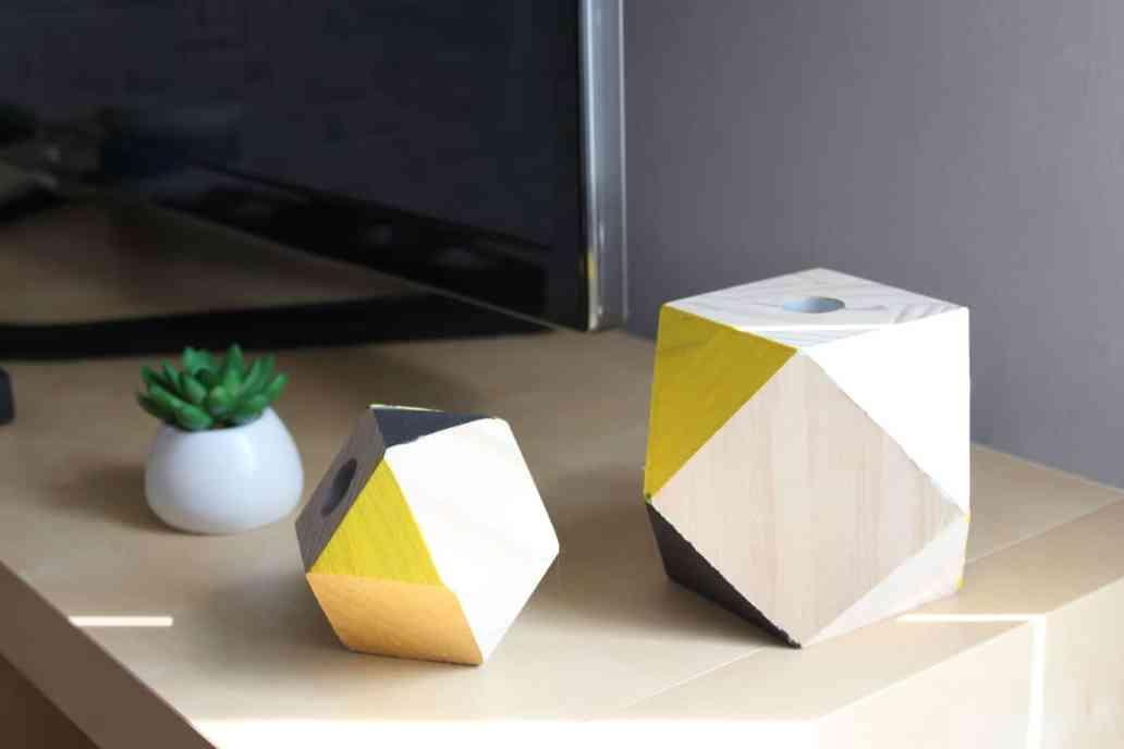 bougeoirs géométriques diy - DIY : des bougeoirs géométriques en bois