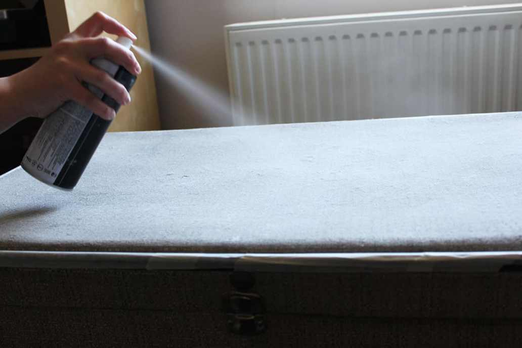 Application du spray sur la valise - DIY : Redonner vie à une vieille valise