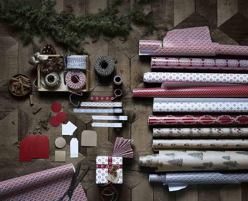 nouvelle collection noel ikea papier cadeau rouge et blanc - Ikea : la nouvelle collection Noël 2015