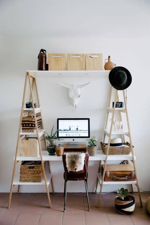 un bureau boheme avec trophee - Un intérieur bohème pour une impression de voyage