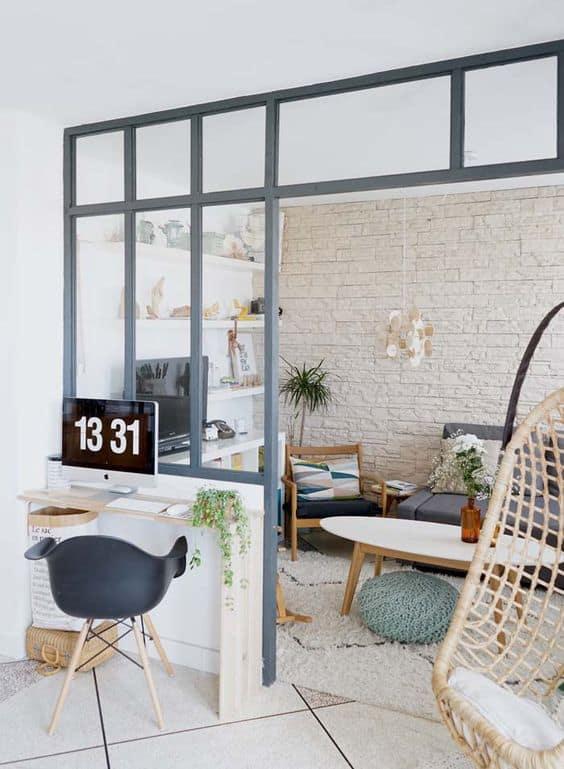 une verriere pour cloisonner le studio - Inspiration Pinterest : comment bien aménager un studio