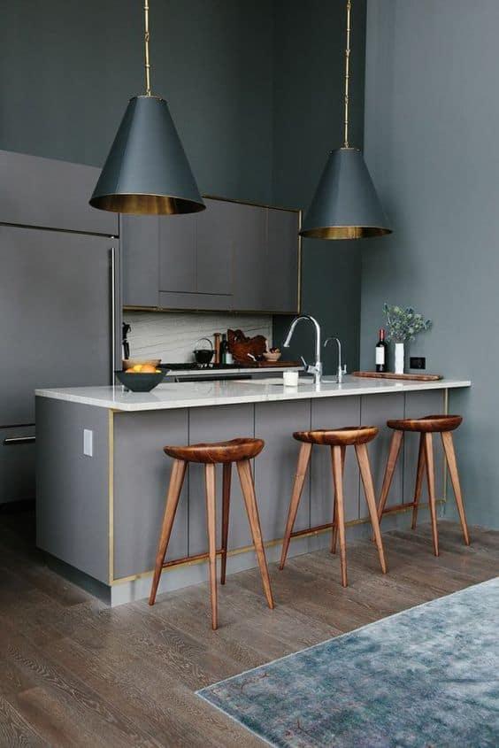 du cuivre sur ilot central dans cuisine  - 8 façons de mettre en valeur l'ilot central de la cuisine