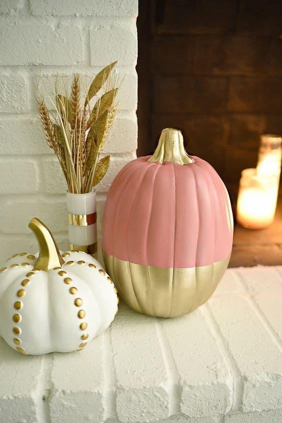 décorer citrouille d'halloween doré et pastel