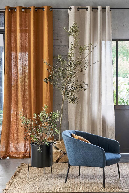 rideau salon orange et beige style provencal - Quels rideaux installer dans un salon ?