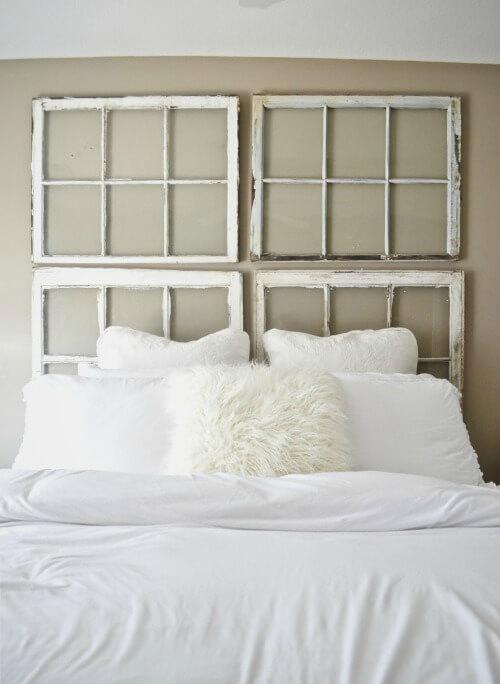 une tete de lit en fenêtre récupérée - 8 inspirations DIY pour fabriquer une tête de lit