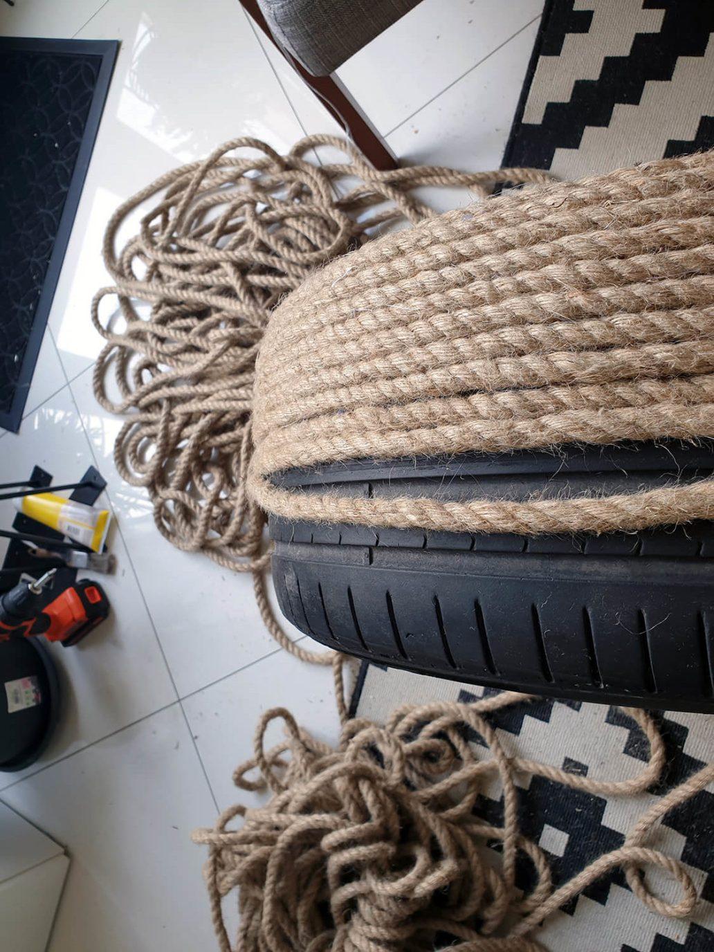 20200930 144755 rotated - DIY Récup : fabriquer une table basse avec un pneu