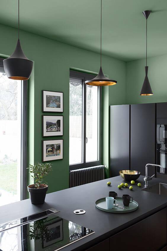 cuisine noire avec mur vert - L'irrésistible cuisine noire : une inspiration moderne et tendance