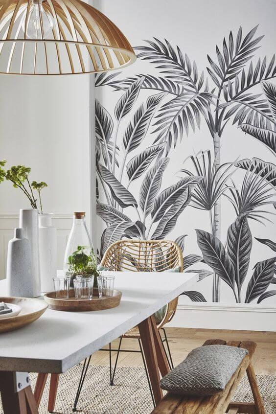 salle a manger bois blanc papier peint 2 - Tendances meubles et décoration 2021 : le grand décryptage