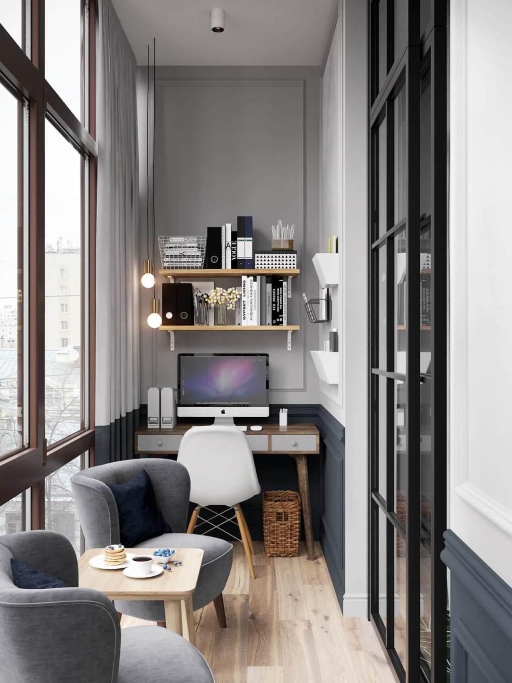 un bureau dans un petit espace decoration grise et chaise design avec etagere murale - Aménager un bureau dans un petit espace