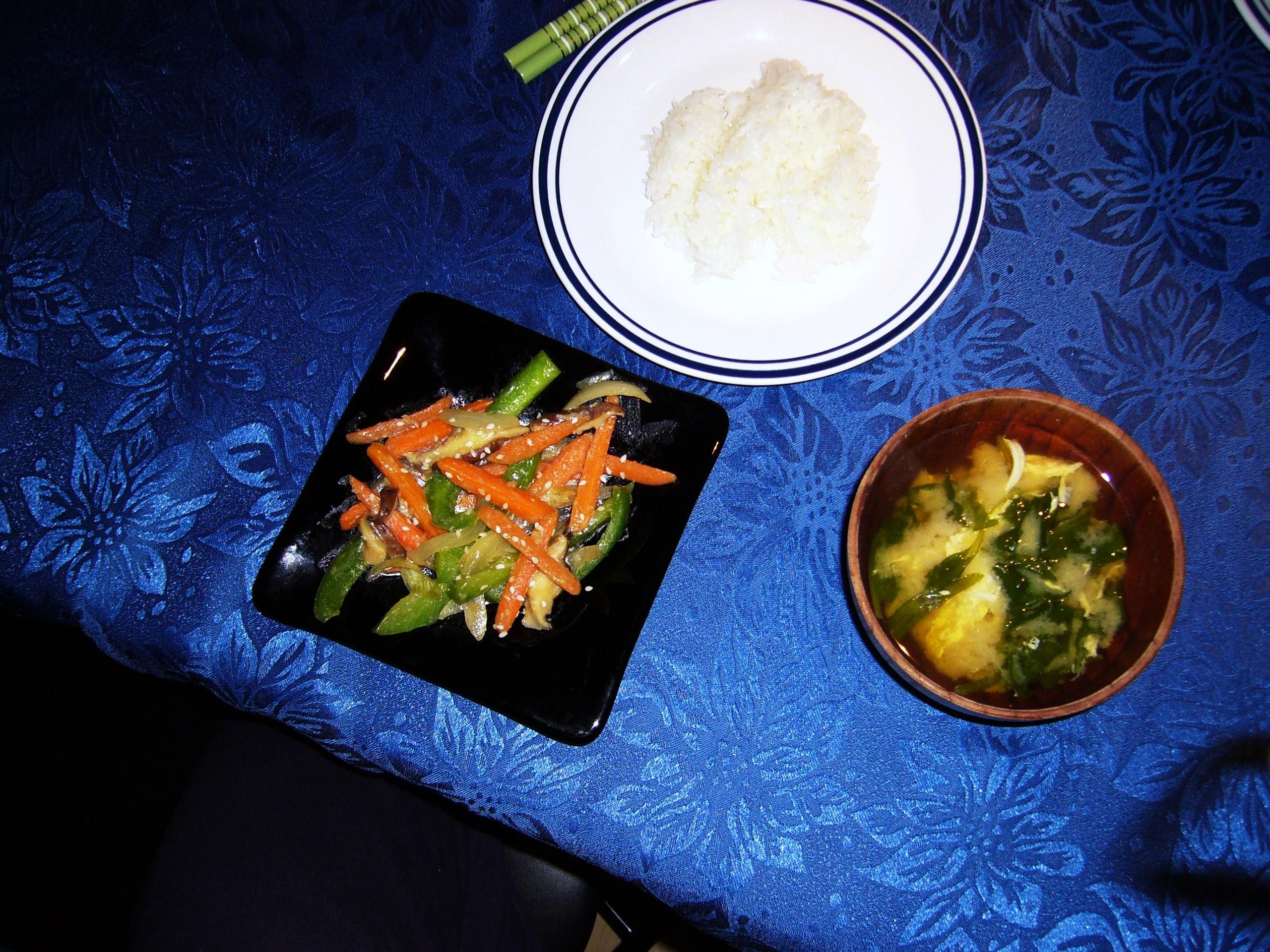 Stir-fried veggies with miso