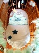 Turbulette bébé grise et verte