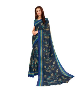 Vishal Prints Navy Blue & Beige Printed Pashmina Saree