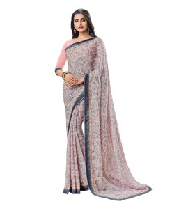 Vishal Prints Baby Pink & Grey Georgette Saree With Pashmina Border
