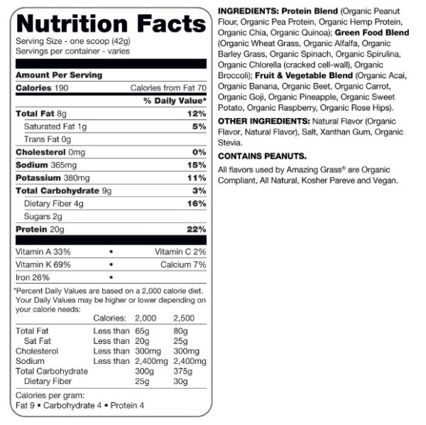 Amazing Grass Protein Superfood Peanut Butter Nutrition