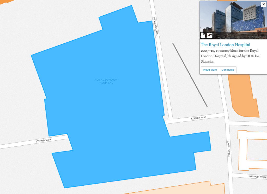 A close up view of one of the mapped buildings, the Royal London Hospital. The selected building is in blue and to the right is a box with a history blurb, and options to read more or to contribute to the history of the site.