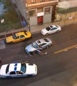 Overhead view of the Mercedes on Clybourn Avenue. Photo: Jon Kobiljak, via DNA Info.
