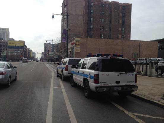 Police SUV blocking protected bike lane at Wabash just north of Roosevelt in South Loop. Photo: Daniel Ronan