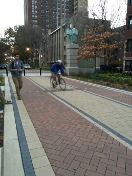 Bikes and pedestrians share the new path. Photo: Melissa Manak