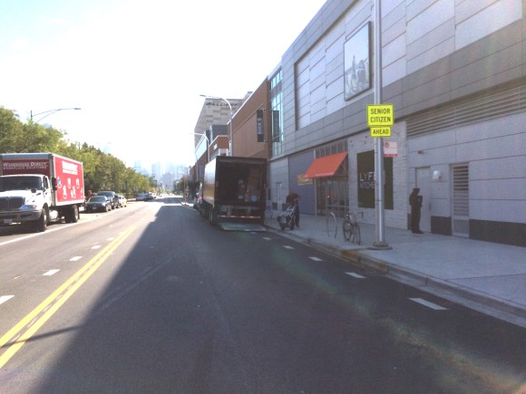 Delivery trucks are blocking the start of the new Clybourn Avenue bike lane. Photo: Justin Haugens