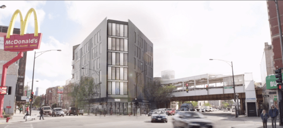 A rendering of the proposed building at 1920 N Milwaukee Ave. Image: Vequity/YouTube